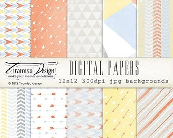 ON SALE Scrapbook Papers and Digital Paper Pack 22