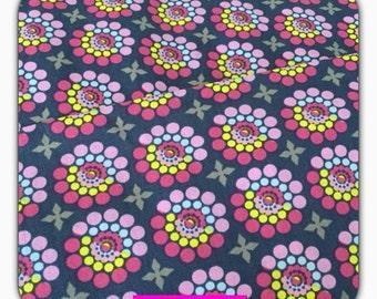 Cotton fabric, colorful flowers, blue, pink, purple, 50 cm