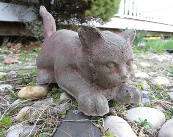 Very Cute Cement Cats/ Kitten- Garden Decor- Unique Outdoor Decorations- Made with Vintage Mold
