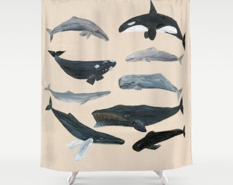 Whale Shower Curtain Whales Shower Curtain Nautical Shower Curtain Whale Bathroom Whale