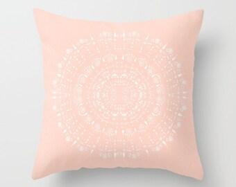 Blush Pink Mandala Throw Pillow Cover, pink throw pillow, blush pink pillow, blush throw pillow, light pink pillow, pink nursery pillow