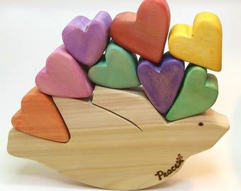 Balancing Peace Rocking Dove with Heart Shaped Blocks