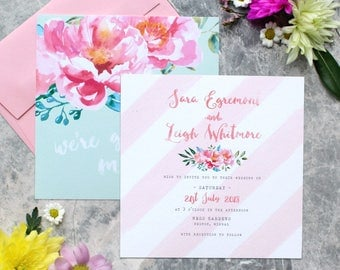 Pink Peony and Stripe Wedding Invitation