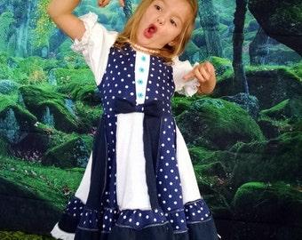 Little Girls dress, Children's Dress Size 4/5, Peasant Dress, T Shirt Dress, Navy and White Dress, Polka Dot Dress, birthday dress