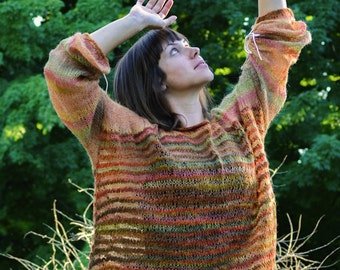 Autumn leaves - oversized hand knitted wool sweater from kid mohair/silk/merino yarn - fall collection - OOAK, boho/ethno - ready to ship!