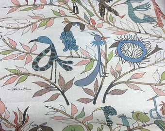 Linen tablecloth natural white blue green red birds flowers Eco Friendly , napkins placemats runners pillows curtains available, eco GIFT
