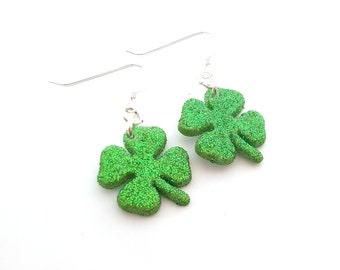 Clover Earrings - Green Glitter St Patricks Day Earrings - Shamrock Charms - Sterling Silver Jewelry - Gift for Her