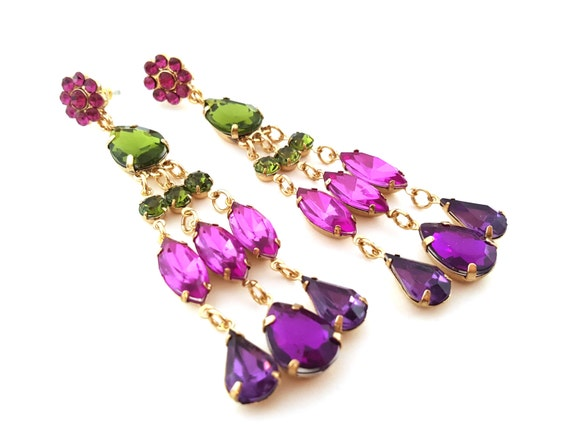 Colorful Rhinestone Chandelier Drop Earrings -  Purple Pink Glam Earrings - Rhinestone Teardrop Earrings - Gold Accessories - Gift for Her