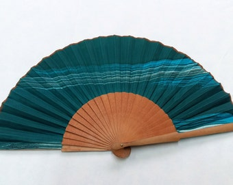 Spanish fan in natural silk hand painted. Fan contemporary textile design for women, flamenco fashion.