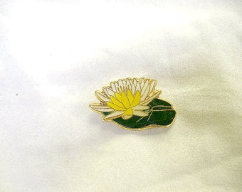 Water Lilly Bloom Pin, Handmade, Hand Painted, Gold Plate, Lead Free