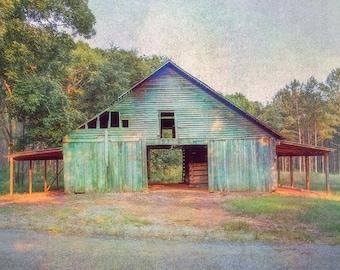 Barn Photography, Rustic Home Decor, Farmhouse Decor, Teal, Barn Landscape, Faded Barn Photo, Canvas Wrap or Print