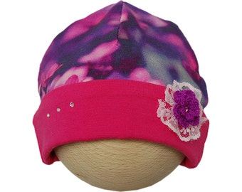Baby hat with flowers and Swarovski crystals purple/hot pink