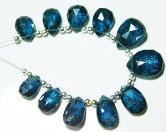 AAA-Rare Teal Blue Moss Kyanite Faceted BIG Pear Teardrop Briolette- 11 Stones -Stones measure- 8x6-12x10mm