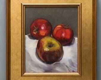 """Original Framed Oil Painting, Still Life, Three Red Apples, 20cm x 25cm, Framed 38 x 32,5cm, ca. 15"""" x 13"""""""
