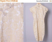 SALE Vintage Chinese Dress // 1950's Cheongsam Dress in gold and ivory (small)
