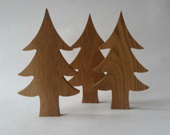 Wooden oak Christmas tree, wooden Christmas decorations, wood, Christmas decoration