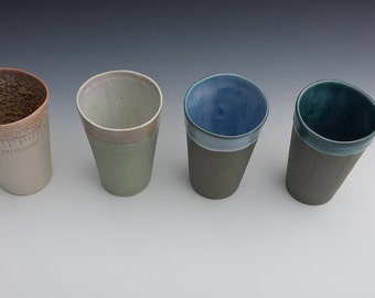 Tumbler, White & Peach cup, porcelain cup, water cup