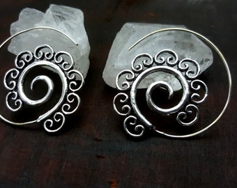 Unusual Silver Spiral Earrings