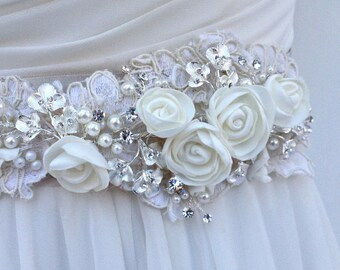 Floral And Lace Bridal Sash, Wedding Sash in Platinum And Ivory With Crystals And Pearls, Rhinestones, Bridal Belt, Colors Choices