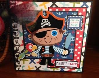Completed scrapbook album- Pirate's Life Chipboard Book