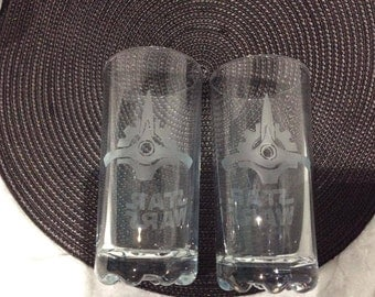 Star Ship Etched Hiball Glasses