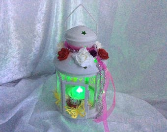 Enchanted Butterfly Lantern with Coloured Tea light