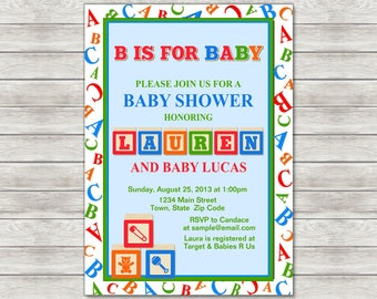 ABC Baby Shower Invitation - Printable File or Printed Invitations