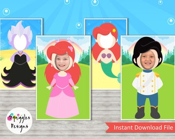 Little Mermaid Photo Booth Props (includes Princess Ariel, Ariel Mermaid, Prince Eric & Ursala) - Digital Files