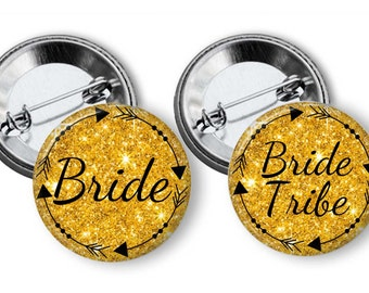 Bride Tribe Bachlorette Party Favors 2.25 inch pinback button set Bachelorette Pins Buttons Badges