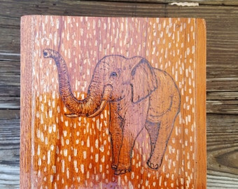 Upcyced cigar box. Wood burning elphant