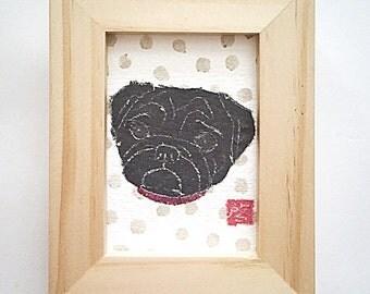 Black Pug Art, Black Pug Lover Gift, Pug Gifts, ACEO, Framed or Unframed