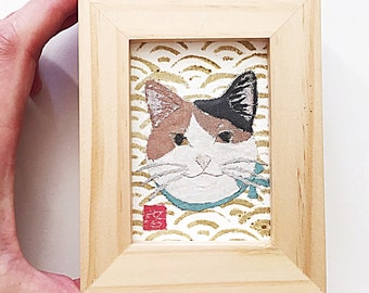 Japanese Cat Art, Cat Gifts, Tricolor Cat, ACEO Original, Modern Japanese
