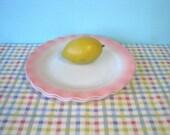 Hazel Atlas Plates - Pink & White - Crinoline - 9 Inch - Mid Century - Set of 2 - Vintage 1960's