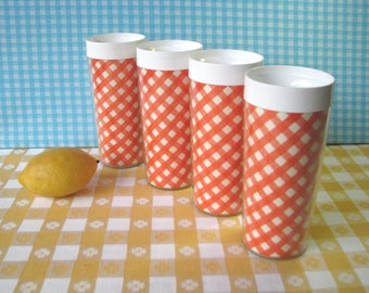 Gingham Thermo Serv Tumblers - Set of 4 - Orange Check -Westbend -  Insulated - Vintage - Mid Century Kitchen 1960's