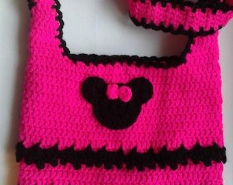 MINIE MOUSE inspired shoulder bag. Cute Kids purse. Cross shoulder bag. Birthday gift. Hot pink, black
