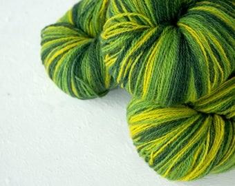 Gradient Aade Long artistic wool, Yarn for knitting, crochet. Green-Yellow gradient yarn