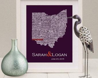 Ohio Wall Art ohio typography map print ohio art print ohio wall art ohio