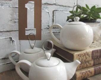 Table Number Holders 10 TEN Little Teapots Vintage Weding or Cafe Tea Tables Price Holders