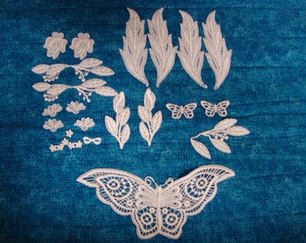 Embroidered Lace Applique's White 21 Pieces