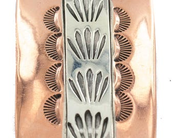 240 Retail Tag Handmade Authentic Navajo Made by Robert Little Leather Pure Copper and Nickel Native American Bolo Tie 24489-5