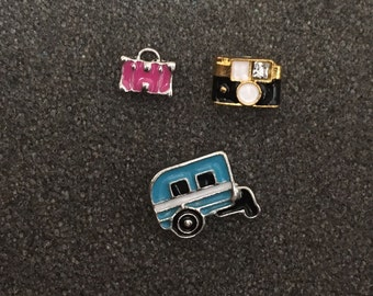 Set of 3 Mismatched Earrings - Suitcase, Camera and Camper