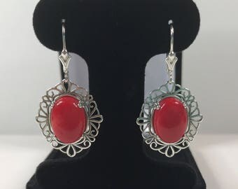 Beautiful 10ct Genuine Red Coral Earrings Sterling Silver Trending Jewelry Gift Floral Filigree Sea Coral Earrings