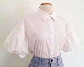 white blouse 90s button up shirt womens white button up 90s shirt statement sleeve blouse puff sleeve blouse short sleeve