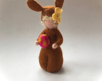 Easter Bunny with egg . Wet Felted.Waldorf.Flower child.Eastern.Seasonal