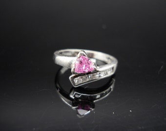 Sterling Silver Ring Pink CZ Cubic Zirconia Bright Size 7 925 Band