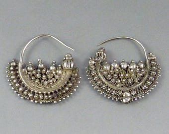 Old silver Uighur ethnic earrings from Central and Eastern Asia,  ethnic tribal jewellery