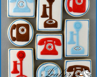 Telephone Cookies, old fashioned land line (quantity: 12)