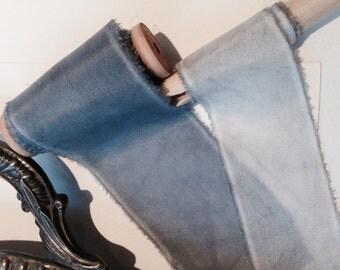 Cole: Slate Blue-Grey - plant dyed habotai silk ribbon