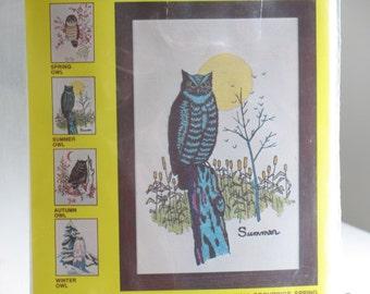 Vintage owl crewel embroidery kit / NOS Needlework Plus Summer Owl yarn craft / boho jungalow wall hanging