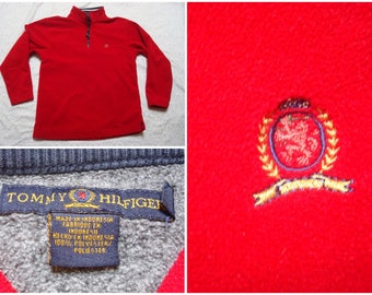Vintage Retro Men's 90's Tommy Hilfiger Fleece Red Quarter-zip Lion Crest Pullover Jacket Large